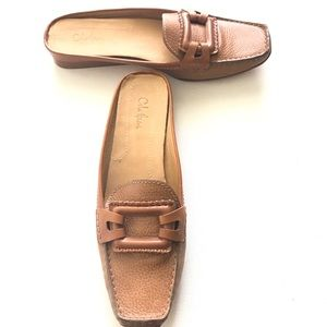Cole Haan Shoes - Cole Haan Tan Mules Size 10B. NWOTS Buckle Accent
